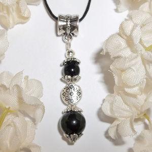 Elegant Black Silver Necklace Adjustable NWT 4833